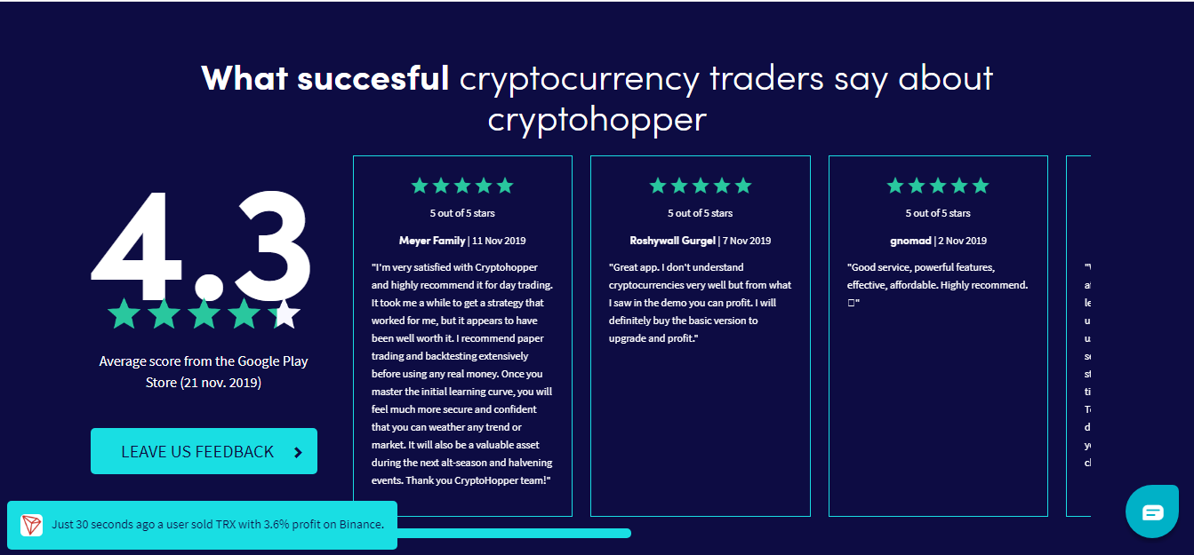 Cryptohopper reviews