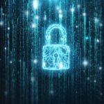 Electronic circuit security padlock in binary numbers code matrix stream.